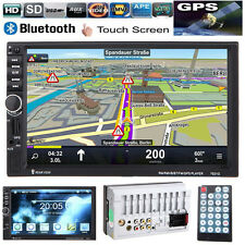 "GPS 7"" HD 2 DIN In Dash Bluetooth Touch Car Stereo Radio MP5 Player USB/TF/AUX"