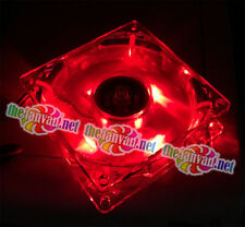 Evercool 80mm x 80mm x 25mm 3 Pin RED LED Fan includes 4 pin adapter and screws!