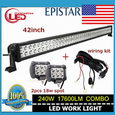 42inch Led 240W Combo Light Bar Driving Lamp Jeep + 2X 18W Spot With Wiring Kit