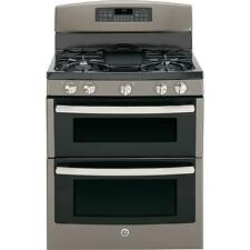 "GE JGB850EEFES 30"" Slate Freestanding Double Oven 5 Burner Gas Range NEW DEAL"