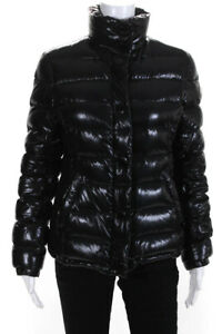 Moncler Womens Down Filled Quilted Snap Front Puffer Coat Jacket Black Size 1