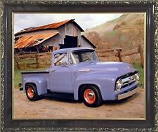 Ford F 100 V8 Pickup Vintage Truck Wall Mahogany Framed Art Print Picture