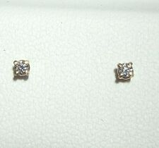 14K 14 ct Yellow Gold 0.06 ct Diamond Stud Earrings SI1, G+ Round 1.95 mm