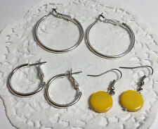 Dangle Style Earrings Silvertone & Yellow Nice 3 Pair Mixed Lot Of Hoops And