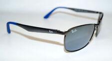 Occhiali da sole da uomo specchio con montatura in blu e lenti in argento