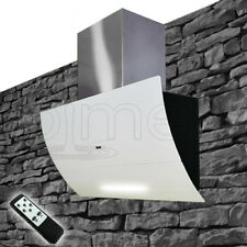 NEU Wandhaube 1000 m³/h Abzug Glas Kopffrei Chlorglas Weiß 90cm Dunstabzugshaube