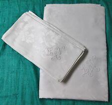 Antique Linen Damask Tablecloth & 8 Lapkin Set L A V Monograms Hand Hemmed