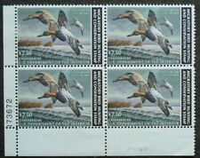 US # SC  RW49  PLATE  BLOCK  4 STAMPS Canvasback Ducks