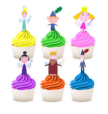 #522. Ben and Holly Edible Wafer Stand up Cupcake Cake Toppers Decorations
