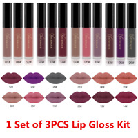 3PCS Makeup Set Long Lasting Waterproof Matte Liquid Lipstick Sexy Lip Gloss Kit