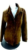 MAXIMA WILSON'S LEATHER WOMEN'S BROWN SUEDE LEATHER BUTTON UP JACKET SIZE L