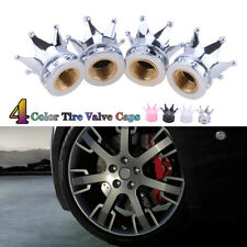 4x Valve Tire Stem Caps Bling Chrome Air Cap Cover For Car Wheel Diamond Crown