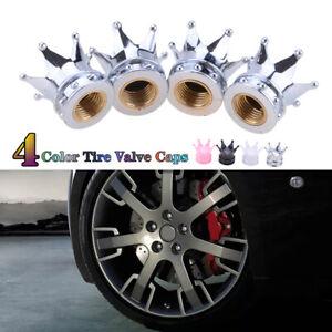 4x Valve Tire Stem Caps Bling Chrome Air Cap Cover For Car Wheel Diamond Crown