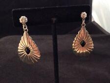 Vintage Southwestern Signed ND Sterling Silver Scalloped Teardrop Onyx Earrings