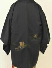 Vintage Japanese Ladies' Black Kimono Haori Eve Jacket 'Sparkling Carriage MED