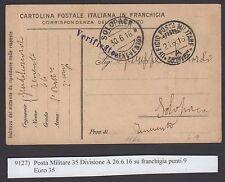 POSTA MILITARE 1916 Franchigia da PM 35° Divisione Sez. A a Solopaca (FIY)