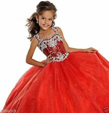 Red Kids Pageant Prom Evening Party Princess Beautiful Formal Flower Girl Dress