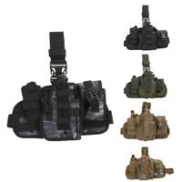 Nylon Molle Quick Detach Drop Leg Holster with MOLLE Debris Pouch Bag Holder