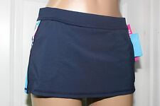 NEW Anne Cole Locker 16LB407 Printed-Trim Pocketed Active Swim Skirt Bottom L