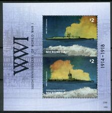Micronesia 2014 MNH WWI 100th Anniv World War I Submarines 2v S/S Ships Stamps