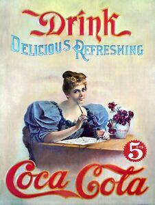 Coca Cola, Retro vintage style metal tin sign gift Home Decor Bar Pub