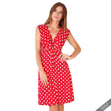Maternity Clothing Pregnancy Polka Dot V Neck Dress Stretch Pleated Skirt Summer Red/white - Vintage Pin up Skater Gown Party Tunic 14