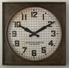 1940S GYMNASIUM CLOCK Restoration Hardware metal frame weathered brown NEW RH