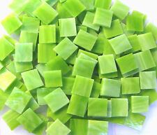 "110 Mosaic Tiles 1/2"" Vibrant Lime Green Wispy Stained Glass Gorgeous!"