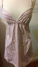 ONLY HEARTS by Helena Stuart STriped Babydoll CHEMISE IN BLUSH PINK SIZE M