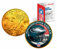 PHILADELPHIA EAGLES NFL 24K Gold Plated IKE Dollar US Coin *OFFICIALLY LICENSED*