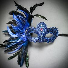 Luxury Traditional Women Venice Carnival Costume Feather Masquerade Mask Blue
