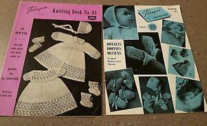 RARE PARAGON VINTAGE  BABY KNITTING book PATTERNS 4 sets shawl pram covers