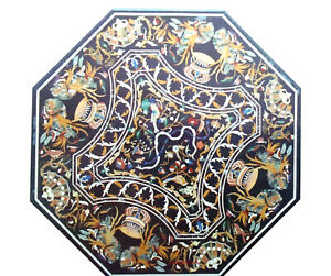 Black Marble Round Dining Table Top Mosaic Handmade Inlay Art Home Decorate B361