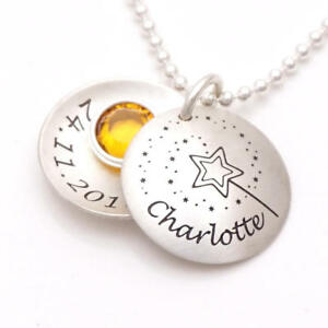Kinderkette Sternenstaub mit Namensgravur Kinderschmuck und Wunschkristall