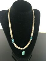 Native American Sterling Silver Turquoise Bead Pen Shell Heishi Necklace 18 in