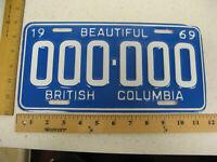 1969 69 BRITISH COLUMBIA BC CANADA SAMPLE LICENSE PLATE TAG 000-000 BEAUTIFUL