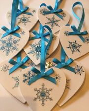 9 X Handmade Shabby Chic Christmas Decorations Frozen Snowflakes Turquoise