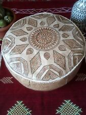 """Moroccan handmade Genuine leather Pouf D20"""" X H10"""" Footstool Ottoman pouffe"""