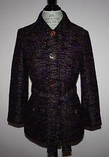 Rare Womens ETRO Milano Dark Purple Tweed Blazer Jacket Size 44