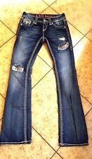 Rock Revival Jeans Womens Alanis B15 Boot Jewel Crystal Blue Buckle Sz 25