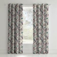 Catherine Lansfield Painted Floral Cotton Eyelet Curtains, Plum, 66 x 72 Inch