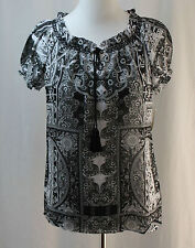 St. John's Bay, PS, Intuitive Sense Black Multi Unlined Top, New with Tags