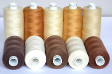 MOON POLYESTER SEWING THREAD ( Brown & Cream Family Colours ) Total 10 Spools