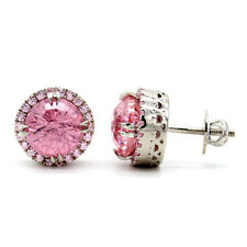 Round Pink Swarovski Zircon Faceted Crystal Halo Stud Earrings Sterling Silver