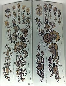 6 x Pair of Indian Classic Design Style Bridal Removal Temporary Henna Tattoo