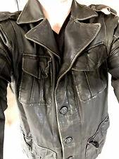 $998 Diesel Large Black Leather Jacket Military Coat Distressed Rugged Utility