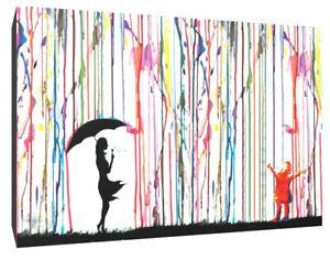 Banksy girl rain purple canvas wall art Wood Framed Ready to Hang XXL