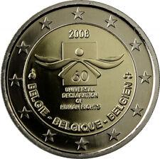 """2 euro commémorative Belgique 2008 """" Droit de l'homme """"  NEUVE UNC"""