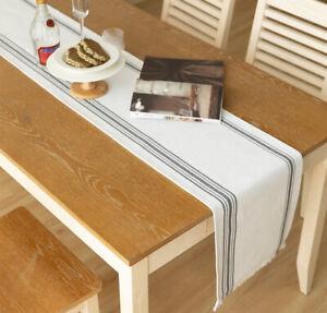 Fennco Styles Grey Stripes Fringe Canvas Cotton Table Runner, 2 Sizes