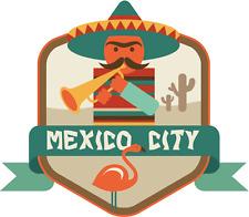 "Mexico City World Travel Label Badge Car Bumper Sticker Decal 5"" x 5"""